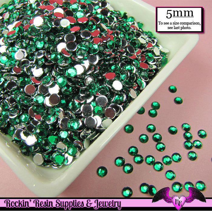 5mm 200 pcs EMERALD GREEN RHINESTONES Flatback  / Decoden Crystal Phone Deco - Rockin Resin  - 1