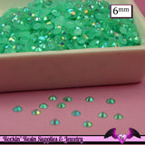 6mm 200 pcs AB AQUA Blue Green Jelly Rhinestones Flatback / Decoden Crystal Phone Deco - Rockin Resin  - 2