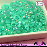 6mm 200 pcs AB AQUA Blue Green Jelly Rhinestones Flatback / Decoden Crystal Phone Deco - Rockin Resin  - 1