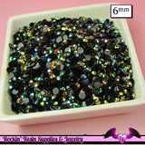 6mm 200 pcs AB BLaCK PEACOCK RHINESTONES Flatback / Decoden Crystal Phone Deco - Rockin Resin  - 1