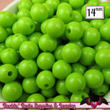 GUMBALL Beads 14mm Beads 25 pcs GREEN Round Acrylic Beads - Rockin Resin  - 2