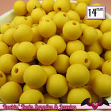 GUMBALL Beads 14mm Beads 25 pcs FROSTED YELLOW Round Acrylic Beads - Rockin Resin  - 1