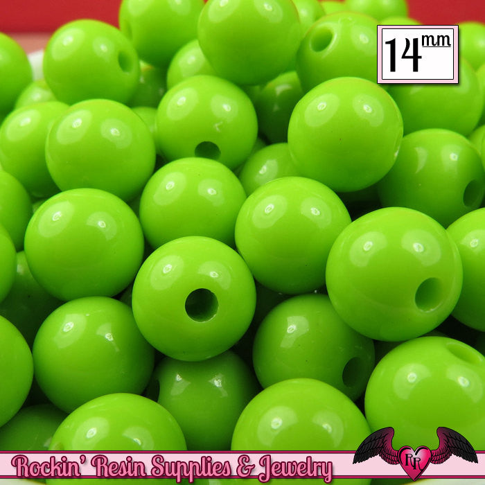 GUMBALL Beads 14mm Beads 25 pcs GREEN Round Acrylic Beads - Rockin Resin  - 1