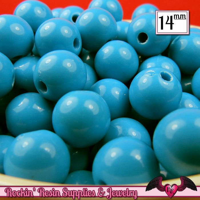 GUMBALL Beads 14mm Beads 25 pcs TURQUOISE BLUE Round Acrylic Beads