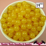 GUMBALL Beads 14mm Beads 25 pcs YELLOW JELLY Round Acrylic Beads - Rockin Resin  - 2
