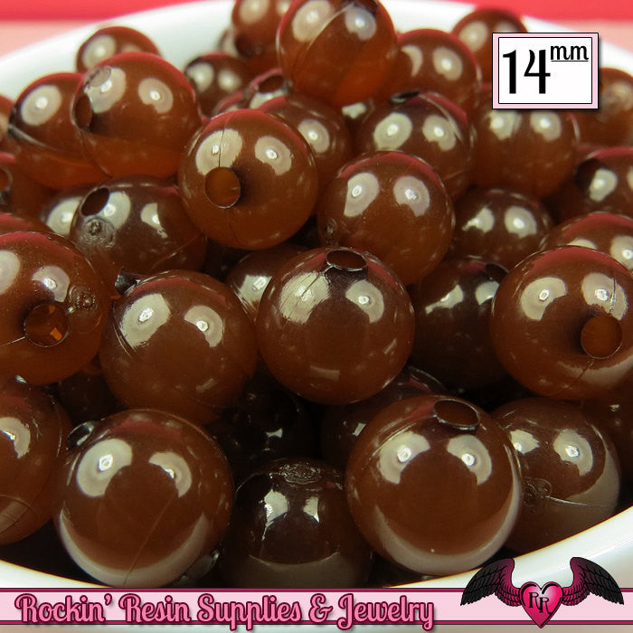GUMBALL Beads 14mm Beads 25 pcs BROWN JELLY Round Acrylic Beads