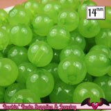 GUMBALL Beads 14mm Beads 25 pcs LiME GREEN JELLY Round Acrylic Beads - Rockin Resin  - 2