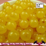 25 GUMBALL Beads 12mm YELLOW JELLY Round Acrylic Beads - Rockin Resin  - 2