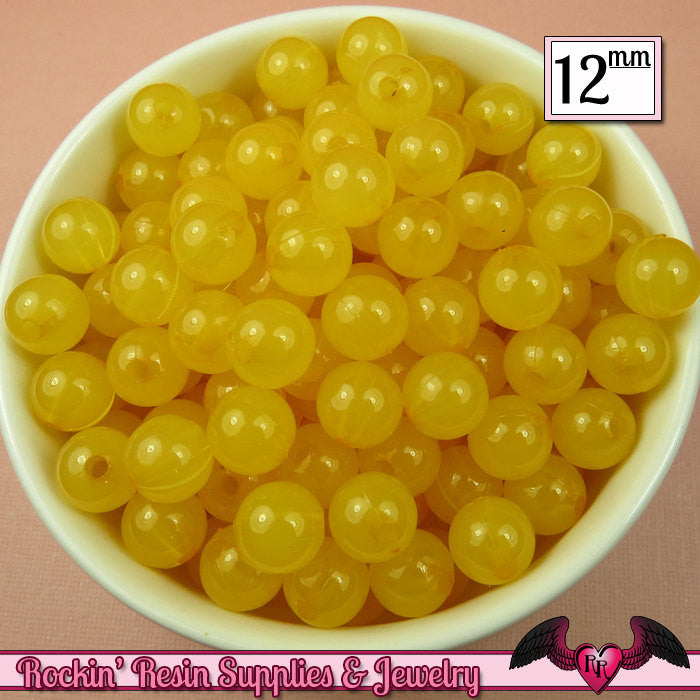25 GUMBALL Beads 12mm YELLOW JELLY Round Acrylic Beads