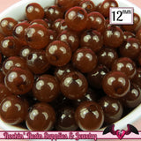 25 GUMBALL Beads 12mm BROWN JELLY Round Acrylic Beads - Rockin Resin  - 3
