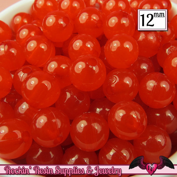 25 GUMBALL Beads 12mm RED JELLY Round Acrylic Beads  Jelly Beads