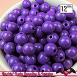 25 GUMBALL Beads 12mm GRAPE PURPLE Round Acrylic Beads - Rockin Resin  - 3