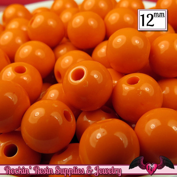 25 GUMBALL Beads 12mm ORANGE Round Acrylic Beads