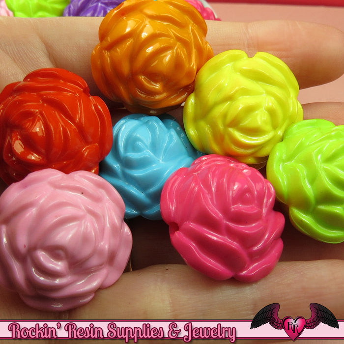 24mm ROSE Gumball Beads 8 pcs Bright Colorful MIX Acrylic Beads