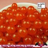 25 GUMBALL Beads 12mm ORANGE JELLY Round Acrylic Beads - Rockin Resin  - 2
