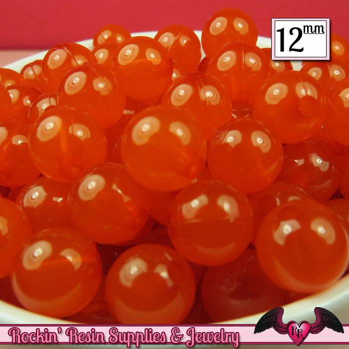 25 GUMBALL Beads 12mm ORANGE JELLY Round Acrylic Beads