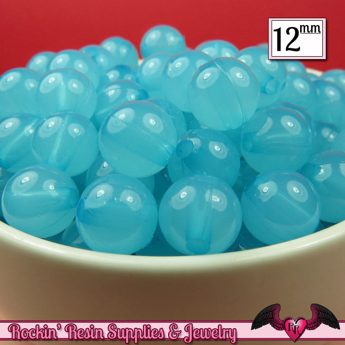 25 GUMBALL Beads 12mm Arctic BLUE JELLY Round Acrylic Beads