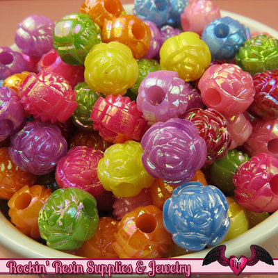 10mm AB ROSE Beads 40 pcs Colorful Acrylic Bead Mix - Rockin Resin  - 1