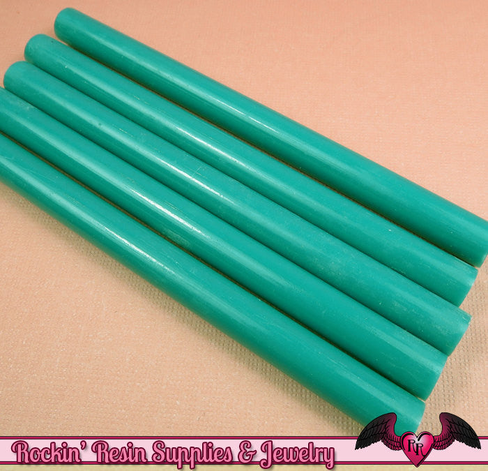 5 Teal Blue Green Mini Hot GLUE STICKS / Deco Sauce / Fake Icing / Nail Art Stick / Faux Wax Seals