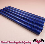 5 Glitter Dark Blue Mini Hot GLUE STICKS / Deco Sauce / Fake Icing / Nail Art Stick / Faux Wax Seals - Rockin Resin  - 1