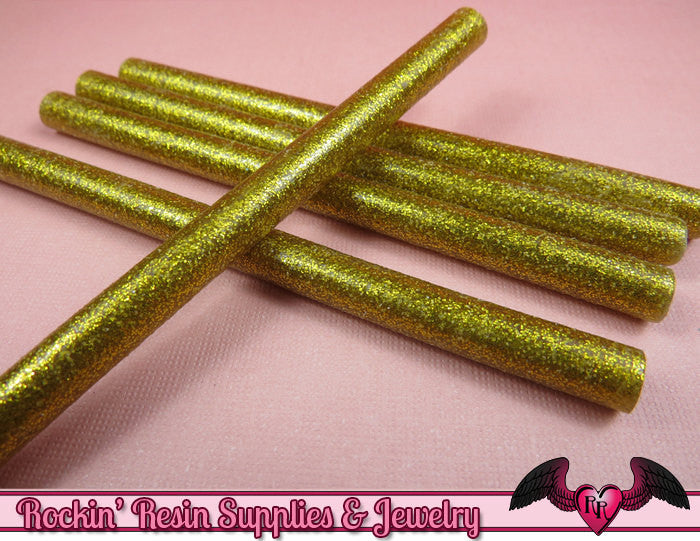 5 Gold Glitter Mini Hot GLUE STICKS / Deco Sauce / Fake Icing / Nail Art Stick / Faux Wax Seals - Rockin Resin  - 1