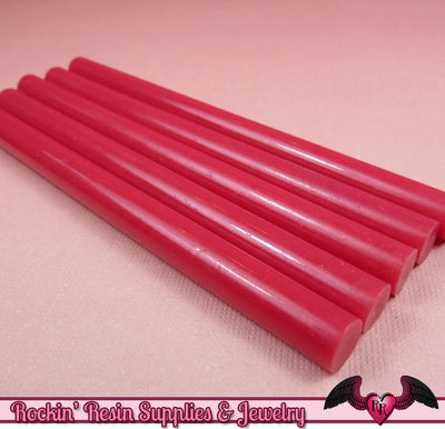 5 Fuchsia Hot Pink  Mini Hot GLUE STICKS / Deco Sauce / Fake Icing / Nail Art Stick / Faux Wax Seals - Rockin Resin  - 1