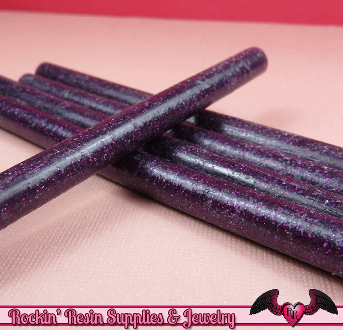 5 Purple-Pink Glitter Mini Hot GLUE STICKS / Deco Sauce / Fake Icing / Nail Art Stick / Faux Wax Seals - Rockin Resin  - 1