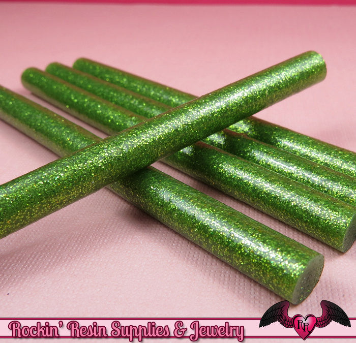 5 GREEN Glitter Mini Hot GLUE STICKS / Deco Sauce / Fake Icing / Nail Art Stick / Faux Wax Seals / Cellphone Decoden
