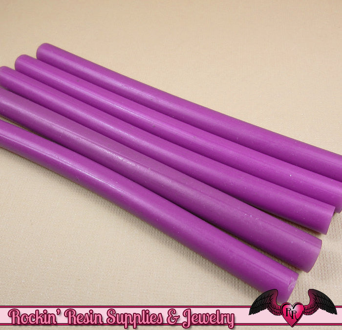 5 Purple Mini Hot GLUE STICKS / Deco Sauce / Fake Icing / Nail Art Stick / Faux Wax Seals - Rockin Resin  - 1