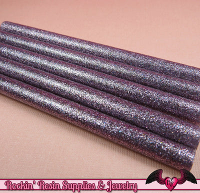 5 LiGHT PuRPLE Glitter Mini Hot GLUE STICKS / Deco Sauce / Fake Icing / Nail Art Stick / Faux Wax Seals - Rockin Resin  - 1