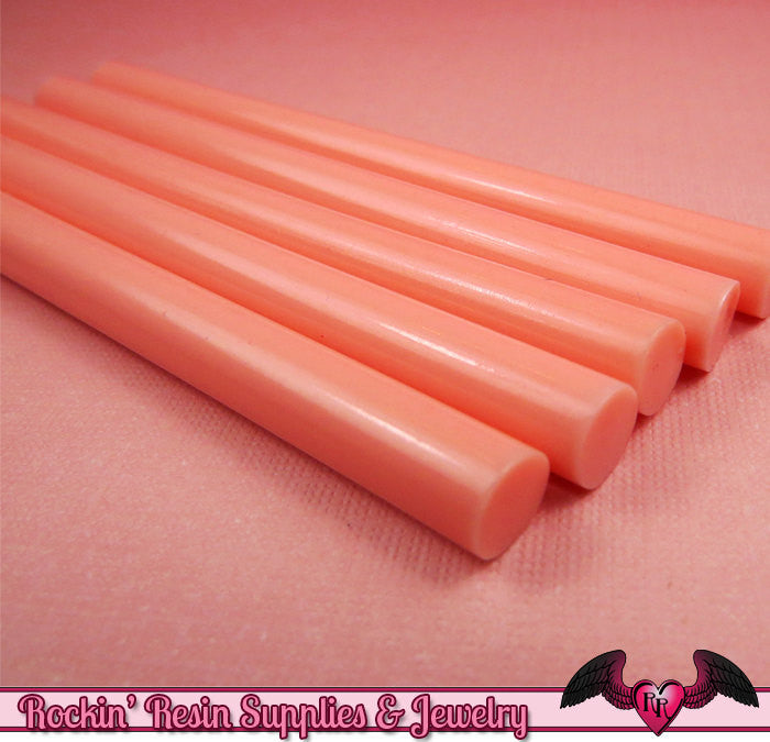 5 Melon PINK Mini Hot GLUE STICKS / Deco Sauce / Fake Icing / Nail Art Stick / Faux Wax Seals / Cellphone Decoden - Rockin Resin  - 1