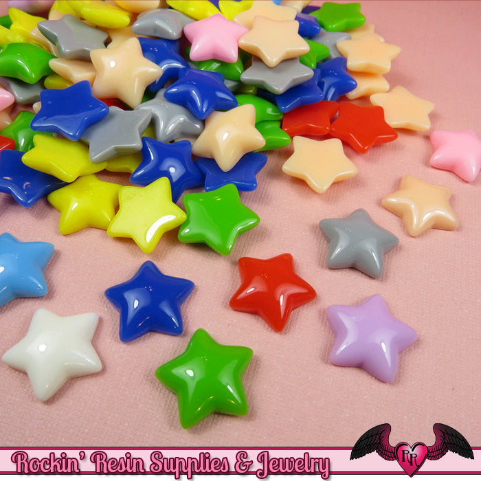 20 pc PUFFY STARS Resin Decoden Kawaii Cabochons 17mm