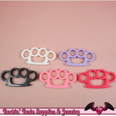 5pc KNUCKLE DUSTERS  Flatback Decoden Kawaii Cabochons / Cellphone Deco 39x20mm - Rockin Resin  - 1