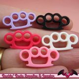 5pc KNUCKLE DUSTERS Small Flatback Decoden Kawaii Cabochons / Cellphone Deco 24x12mm - Rockin Resin
