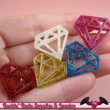 5pc DIAMONDS Glitter Flatback Decoden Kawaii Cabochons / Cellphone Deco 24x21mm - Rockin Resin  - 1