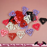 6pc DIAMONDS Flatback Resin Decoden Cabochons / Cellphone Deco 24x21mm - Rockin Resin  - 2