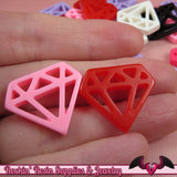 6pc DIAMONDS Flatback Resin Decoden Cabochons / Cellphone Deco 24x21mm - Rockin Resin  - 1