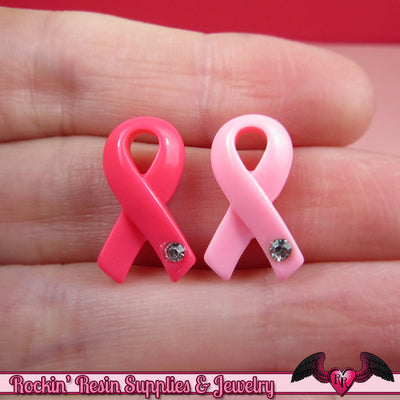 6 pcs PINK RIBBONS Breast Cancer Awareness Resin Decoden Flatback Cabochons 19x11mm - Rockin Resin  - 1