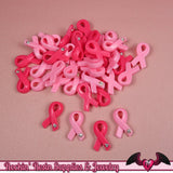 6 pcs PINK RIBBONS Breast Cancer Awareness Resin Decoden Flatback Cabochons 19x11mm - Rockin Resin  - 2