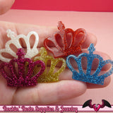 5pc GLITTER CROWNS Resin Decoden Kawaii Cabochons / Cellphone Deco 35x27mm - Rockin Resin  - 1