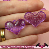 Purple PUFFY HEART Transparent Acrylic Beads / Charms 25x18mm (20 pieces) - Rockin Resin  - 2