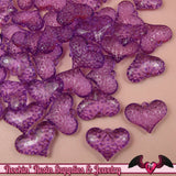 Purple PUFFY HEART Transparent Acrylic Beads / Charms 25x18mm (20 pieces) - Rockin Resin  - 1