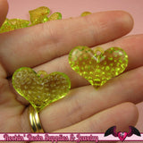PUFFY HEART Transparent Acrylic Beads / Charms 25x18mm (20 pieces) - Rockin Resin  - 2