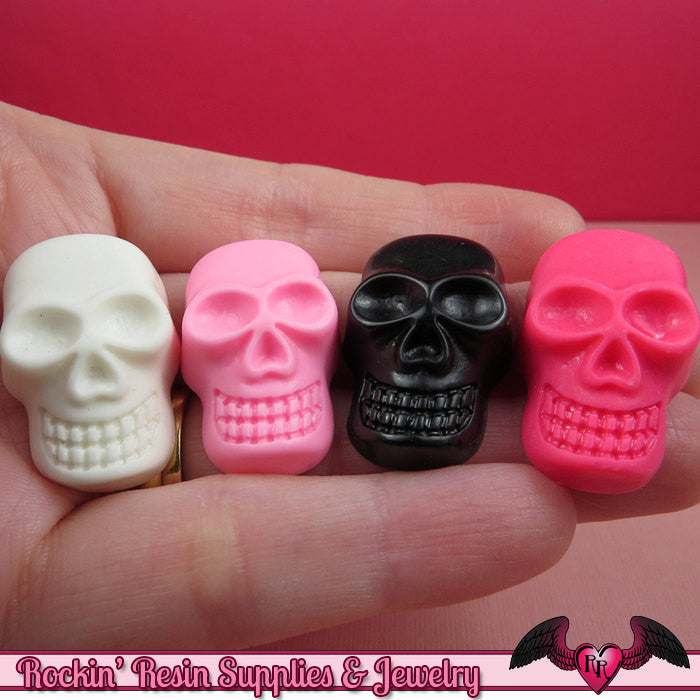 SKULL Kawaii Cabochons / Skeleton flatback resin decoden cabochon (4 pieces) - Rockin Resin  - 1
