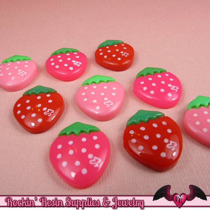 STRAWBERRY Kawaii Cabochons / Decoden Resin Cabochons 16x18mm (10 pieces) - Rockin Resin  - 1