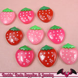 STRAWBERRY Kawaii Cabochons / Decoden Resin Cabochons 16x18mm (10 pieces) - Rockin Resin  - 2