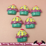 CUPCAKE with Rhinestone Bling Flatback Decoden Kawaii Cabochons 23x24mm (5 pieces) - Rockin Resin  - 2
