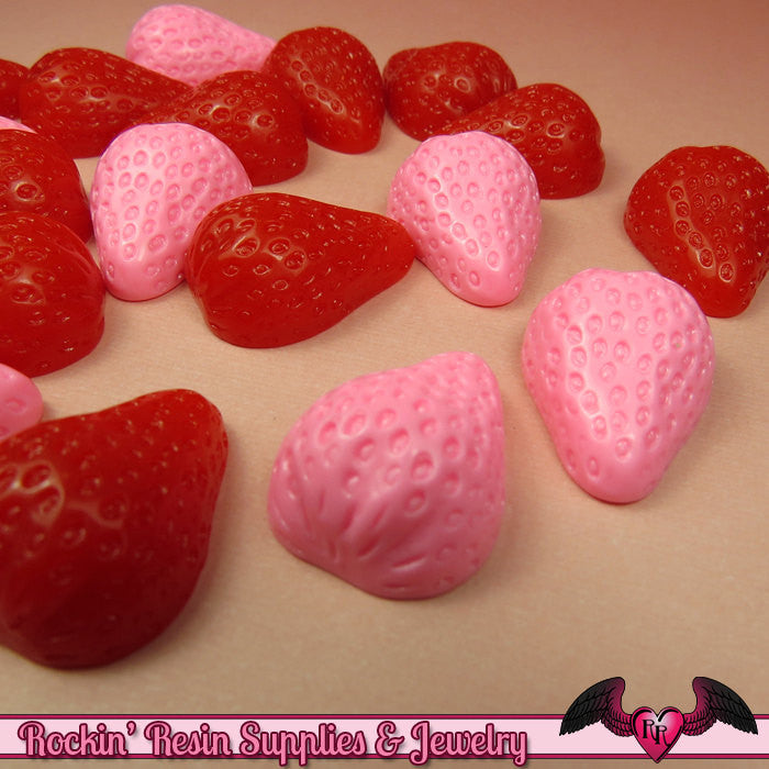 Pink/Red STRAWBERRY Kawaii Cabochons / Decoden Resin Cabochons (6 pieces) 24x18mm - Rockin Resin  - 1