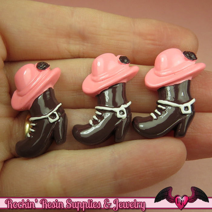 COWGIRL BOOTS / HAT Kawaii Cabochons / Flatback Decoden Resin Cabochon (5 pieces) - Rockin Resin  - 1
