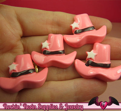 PINK COWGIRL HAT Kawaii Cabochons / Flatback Decoden Resin Cabochon (5 pieces) - Rockin Resin  - 1